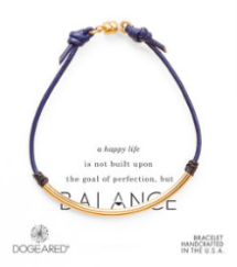 Dogeared balance blue leather bracelet